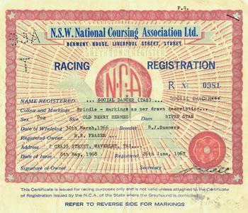 Social Dancers registration certificate