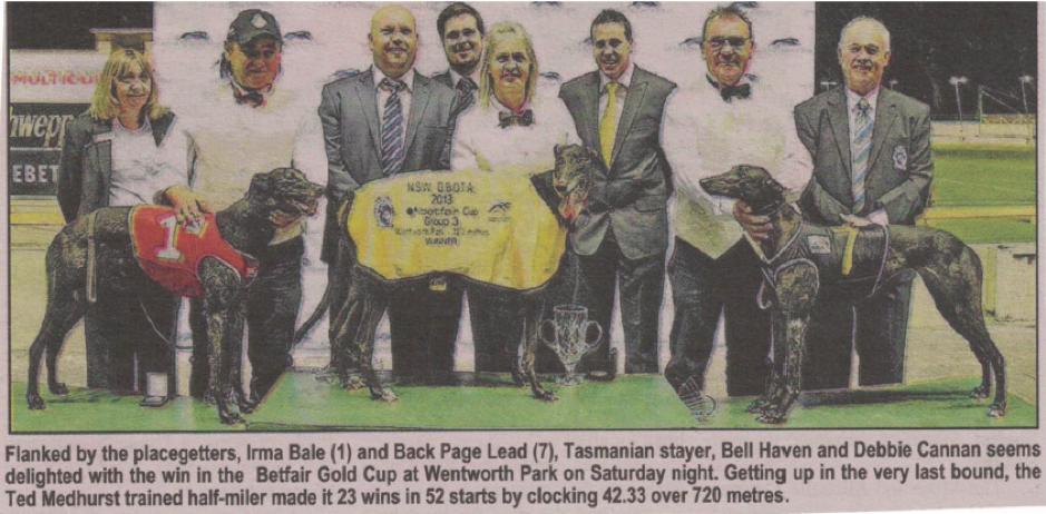 The Wentworth Park Cup presentation